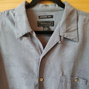 Berelli Washable Silk Palm Tree Blue Shirt SZ XL